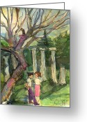 Olympia Greeting Cards - Olympia Greece Romance Greeting Card by Mindy Newman