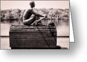 Sculling Greeting Cards - Olympic Champion - John B Kelly Greeting Card by Bill Cannon