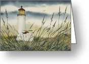 Pacific Northwest Lighthouse Framed Print Greeting Cards - Olympic Coast Sentinel Greeting Card by James Williamson
