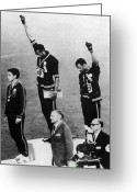 Civil Rights Greeting Cards - Olympic Games, 1968 Greeting Card by Granger