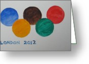 Games Painting Greeting Cards - Olympic Games 2012 Greeting Card by Roger Cummiskey
