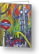 London Underground Mixed Media Greeting Cards - Olympic Ring Toss Greeting Card by Mary Gallagher-Stout