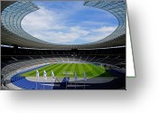 Soccer Stadium Greeting Cards - Olympic Stadium Berlin Greeting Card by Juergen Weiss
