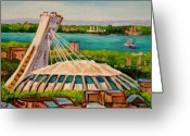 What To Buy Greeting Cards - Olympic Stadium  Montreal Greeting Card by Carole Spandau