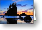 Beach Scenery Greeting Cards - Olympic Sunset Greeting Card by Inge Johnsson