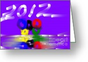 Games Painting Greeting Cards - Olympics Across the Sea Greeting Card by George Pedro
