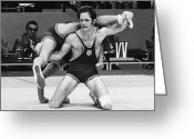 Match Greeting Cards - Olympics: Wrestling, 1972 Greeting Card by Granger