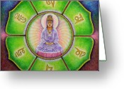 Goddess Posters Greeting Cards - Om Mani Padme Hum Kuan Yin Greeting Card by Sue Halstenberg