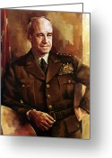 Navy Painting Greeting Cards - Omar Bradley Greeting Card by War Is Hell Store