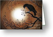 Laura Milnor Iverson Greeting Cards - Ominous Bird of Yore Greeting Card by Laura Iverson