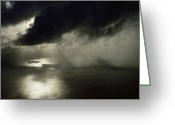 Oceans And Seas Greeting Cards - Ominous Clouds Mask A Setting Sun Greeting Card by Sisse Brimberg