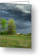 Ohio Country Greeting Cards - Ominous Sky of Spring Greeting Card by Pamela Baker
