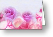 Cindy Longhini Greeting Cards - On A Bed Of Roses Greeting Card by Cindy Lee Longhini