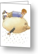 Rain Drawings Greeting Cards - On a Cloud Greeting Card by Kestutis Kasparavicius