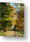 Autumnal Digital Art Greeting Cards - On a Country Road Greeting Card by Bill Cannon
