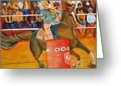 Rodeo Greeting Cards - On a dime Greeting Card by Joshua Morton
