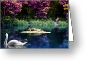 Dolphin Digital Art Greeting Cards - On a Lake Greeting Card by Svetlana Sewell