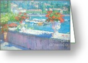 Lake Como Greeting Cards - On A Morning in August Greeting Card by Jerry Fresia