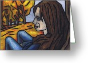 Autumn Leaves Pastels Greeting Cards - On A Warm Autumn Day Greeting Card by Kamil Swiatek