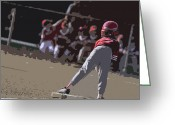 Athletic Digital Art Greeting Cards - On Base Greeting Card by Peter  McIntosh