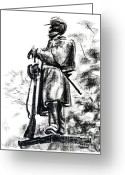 Charcoal Greeting Cards - On Duty in Brigadoon  No CH101 Greeting Card by Kip DeVore