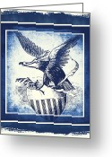 Cave Mixed Media Greeting Cards - On Eagles Wings Blue Greeting Card by Angelina Vick