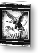 Cave Mixed Media Greeting Cards - On Eagles Wings BW Greeting Card by Angelina Vick