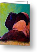 The American Buffalo Painting Greeting Cards - On Empty Bison Greeting Card by Joe  Triano