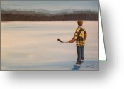 Pond Hockey Painting Greeting Cards - On Frozen Pond - Bobby Greeting Card by Ron  Genest