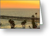 San Clemente Pier Greeting Cards - On Golden Pier Greeting Card by Gary Zuercher