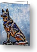 German Shepard Digital Art Greeting Cards - On Guard Greeting Card by Tommy Anderson