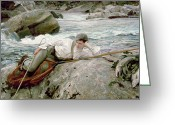 Melancholic Greeting Cards - On His Holidays Greeting Card by John Singer Sargent 