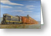 Freight Greeting Cards - On Industry Track Greeting Card by Christopher Jenkins