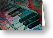 Musical Art Greeting Cards - On Key - Keyboard Painting Greeting Card by Susanne Clark