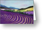 Violet Prints Greeting Cards - On Lavender Trail Greeting Card by Anastasiya Malakhova