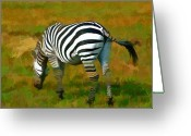 Roberto Edmanson-harrison Greeting Cards - On Safari - Zebra Greeting Card by Roberto Edmanson-Harrison