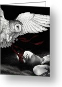 Surreal Tapestries Textiles Greeting Cards - On Silent Wings Greeting Card by Pat Erickson