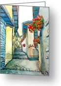 Streets Drawings Greeting Cards - on small streets of the city of Fiumalbo-2 Greeting Card by Khromykh Natalia