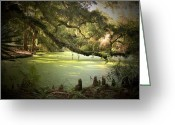 Cypress Tree Greeting Cards - On Swamps Edge Greeting Card by Scott Pellegrin