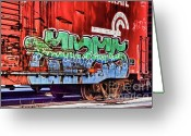 Graffiti Greeting Cards - On that Train Greeting Card by Chuck Alaimo