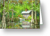 New Orleans Artist Greeting Cards - On the Bayou Greeting Card by Dianne Parks