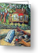 Row Boat Greeting Cards - On the Beach  Greeting Card by Barb Pearson