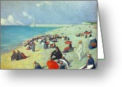 Beach Umbrella Painting Greeting Cards - On The Beach Greeting Card by Leon Pourtau