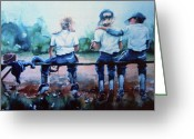 Action Sports Prints Greeting Cards - On The Bench Greeting Card by Hanne Lore Koehler