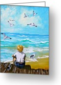 Bleu Greeting Cards - On the Boardwalk Greeting Card by Karon Melillo DeVega