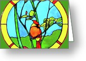 Yellow Glass Art Greeting Cards - On The Branch Greeting Card by Farah Faizal