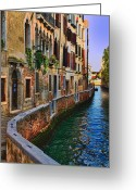 Places In Venice.venecia.venezia.venice Greeting Cards - On the Canal-Venice Greeting Card by Tom Prendergast