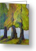Pine Tree Greeting Cards - On the Forests Edge Greeting Card by Blenda Tyvoll
