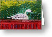 Goose Drawings Greeting Cards - On the Highboy Greeting Card by John  Williams