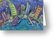 Wall Street Painting Greeting Cards - On The Hudson Greeting Card by Jason Gluskin